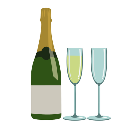 bottle of champagne and glasses Illustration