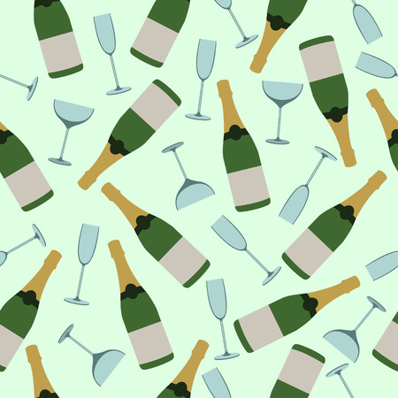 Seamless pattern of bottles of champagne and glasses.