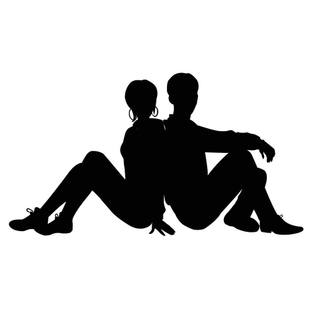 Silhouette of a guy and a girl sitting back to back Vectores