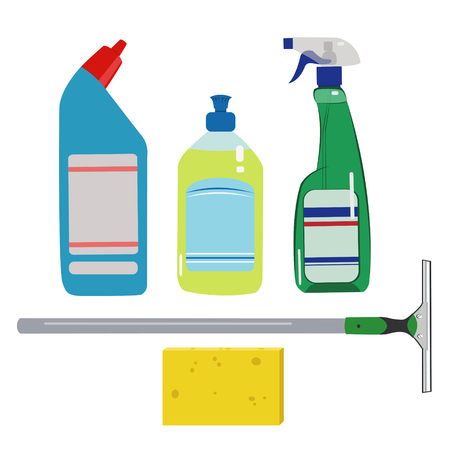 dishwashing liquid: House cleaning set. Means for cleaning and washing windows - illustration