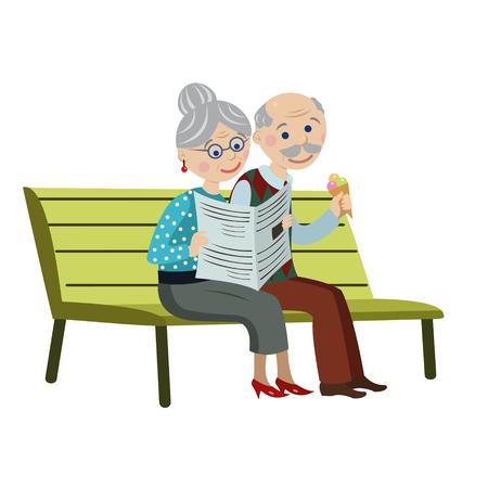 Grootouders op een bankje met ijsje en een krant