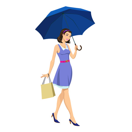 ide: Beautiful young girl under an umbrella with shopping