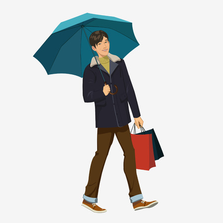 ide: Beautiful young smiling guy under an umbrella Illustration