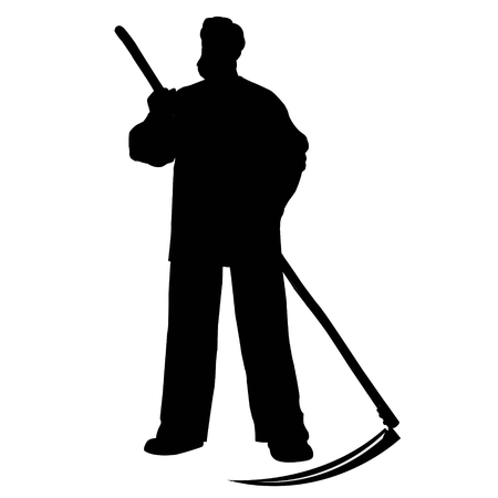 Silhouette of a farmer man with a scythe