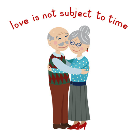 Happy grandparents embrace