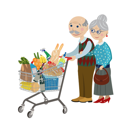 Happy grandparents in a supermarket with a grocery cart Vector Illustration
