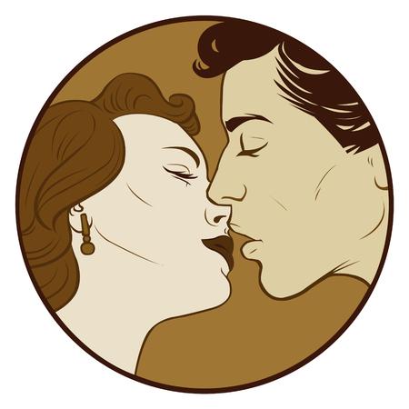 Couple in sepia color Pop Art illustration