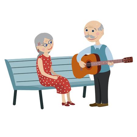 Grandpa playing guitar for grandma Vector Illustration