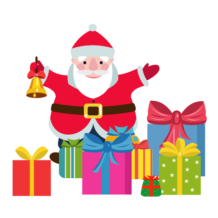 A santa claus with a christmas bell and gifts