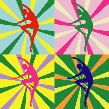 Silhouette of a girl in bright colors Illustration