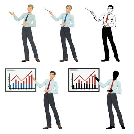 Businessman pointing. Set of four illustrations Illusztráció