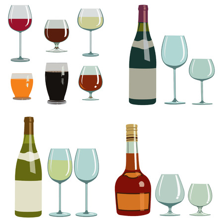 different alcoholic drinks and glasses. Set of four illustrations