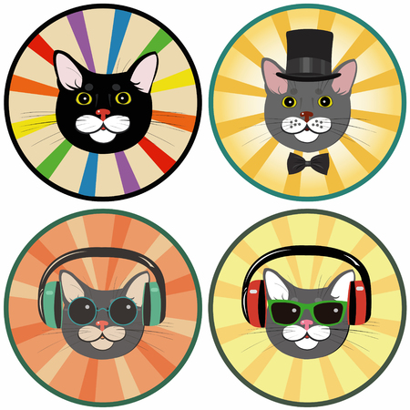 funny cartoon cat in a circle.