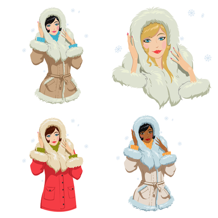 beautiful girl in winter clothes.Set of four illustrations Иллюстрация