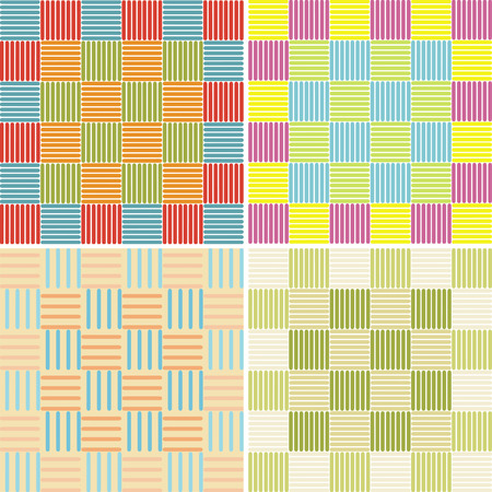 abstract seamless pattern with squares.Set of four illustrations