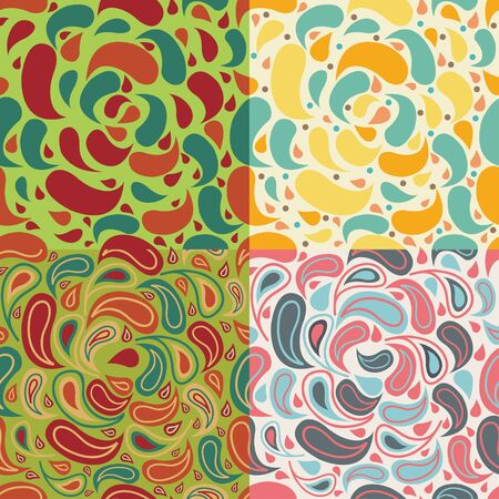 abstract seamless pattern. Set of four illustrations