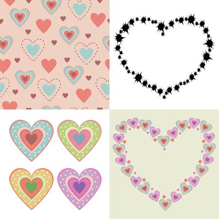 colored hearts background.Set of four illustrations Stock Illustratie