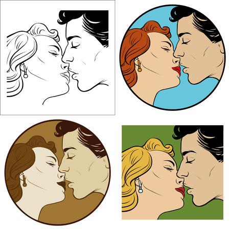 kiss of loving men and women. Set of four illustrations Stock Illustratie