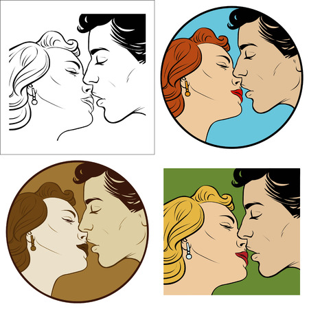 kiss of loving men and women. Set of four illustrations Illustration