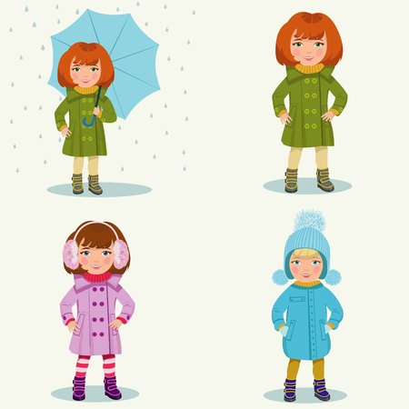 little girl in warm clothes.Set of four illustrations  イラスト・ベクター素材