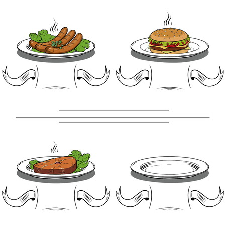 delicious fast food on plate.Set of four illustrations