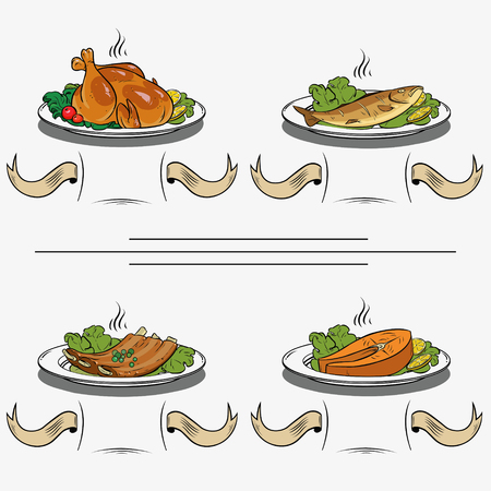 delicious hot food on a plate. Set of four illustrations