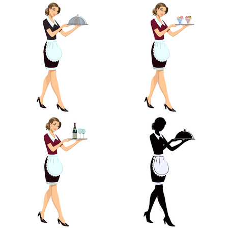 young waitress girl.Set of four illustrations
