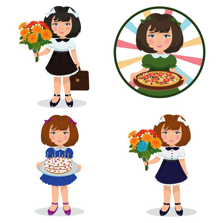 cute little cartoon girl.Set of four illustrations