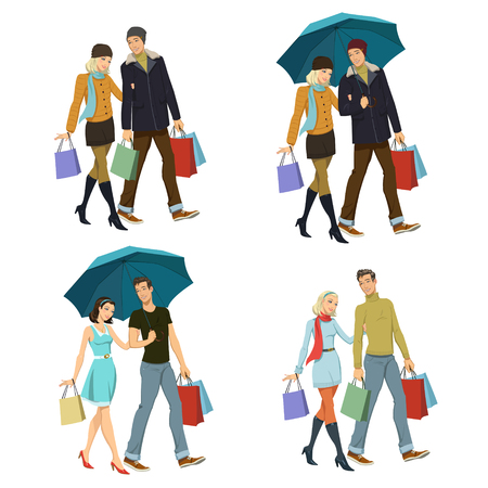 young girl and guy with shopping.Set of four illustrations Çizim