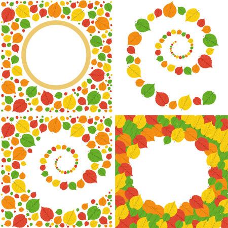 pattern of bright autumn leaves.Set of four illustrations Stock Illustratie