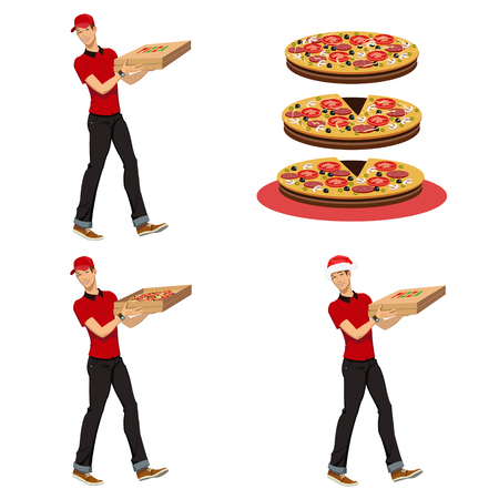 young man pizza delivery man.Set of four illustrations Stock Illustratie