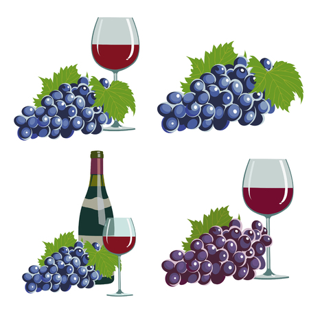 juicy grapes and red wine. Set of four illustrations  イラスト・ベクター素材