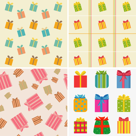 various colorful gifts.Set of four illustrations Illustration