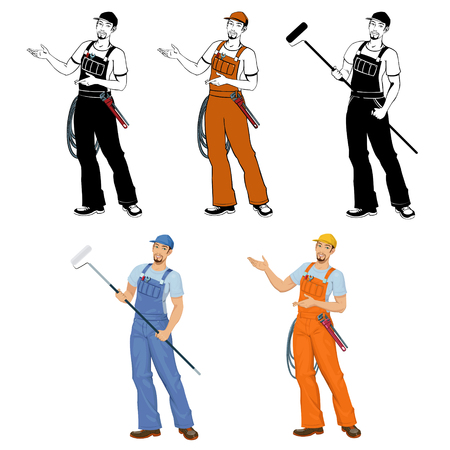 young smiling worker in overalls.Set of four illustrations