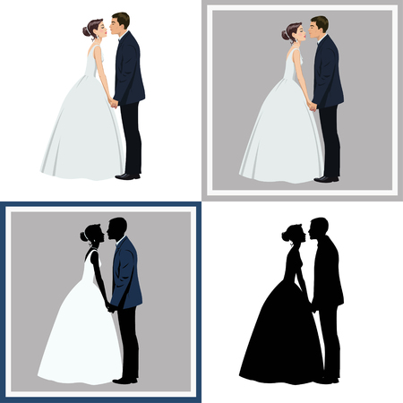wedding couple.Set of four illustrations