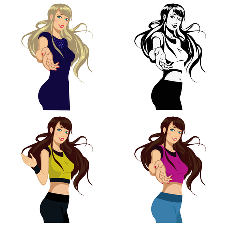 Beautiful girl in sportswear.Set of four illustrations Illustration