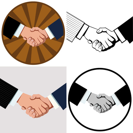 business handshake. Set of four illustrations