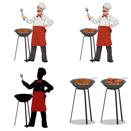 chef cooks barbecue.Set of four illustrations