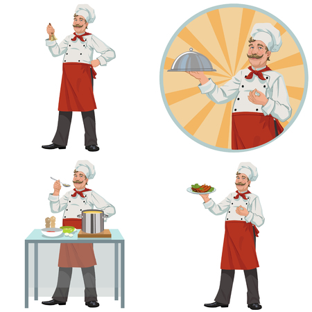 Good smiling chef.Set of four illustrations