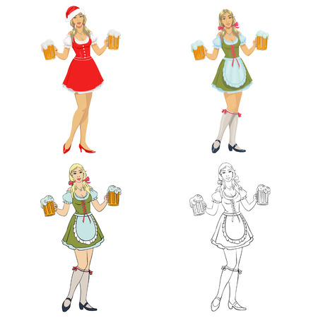 beautiful girl in a dress with beer.Set of four illustrations Illustration