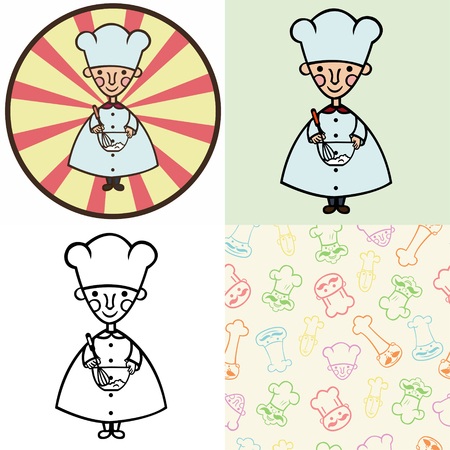 funny cartoon cook whipped cream in a plate.Set of four illustrations