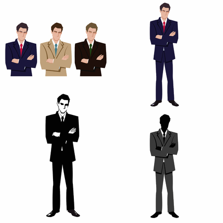 man in business suit and tie.Set of four illustrations