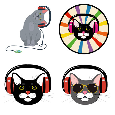 funny cat in the music headphones.Set of four illustrations Illustration