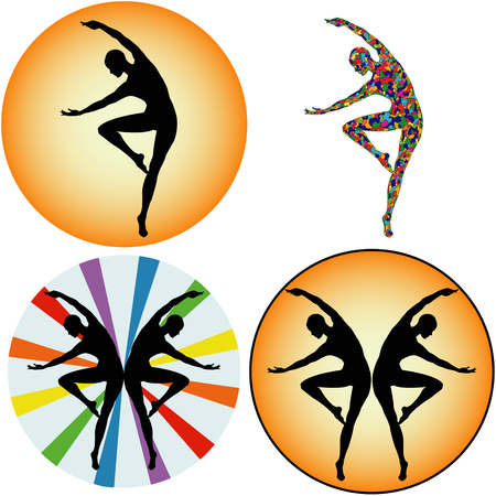 silhouette of a dancing girl.Set of four illustrations