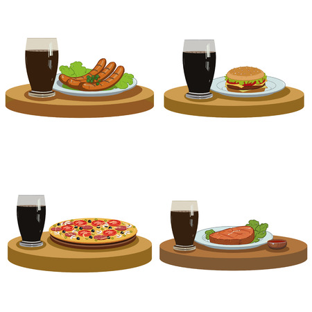 delicious hot food and a cold drink. Set of four illustrations Illustration