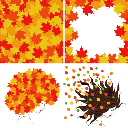 bright autumn leaves and girl's profile. Set of four illustrations