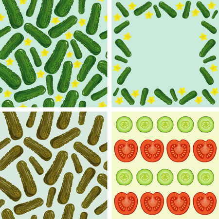 fresh vegetables. Set of four illustrations