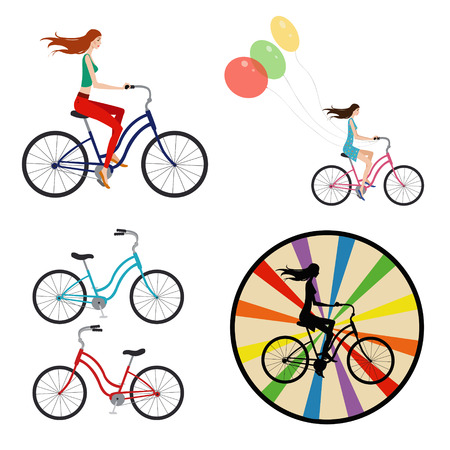 Young girl riding a bicycle. Set of four illustrations