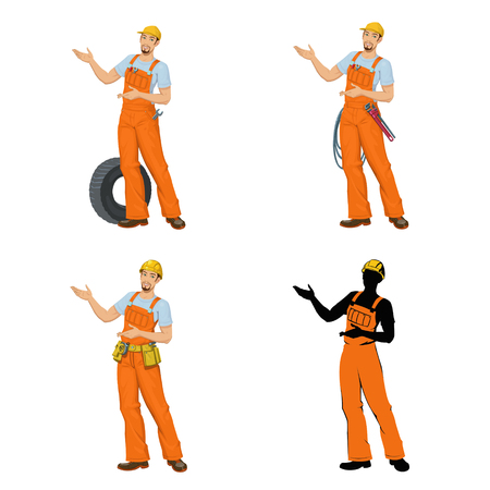 young men in overalls. Set of four illustrations