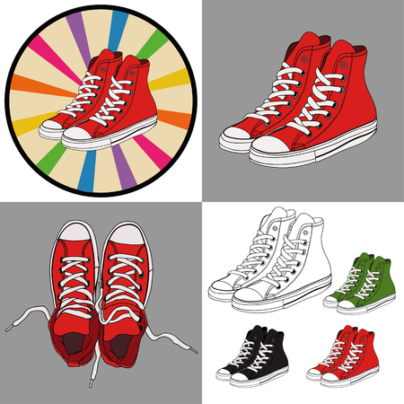 street teenage youth sneakers.Set of four illustrations